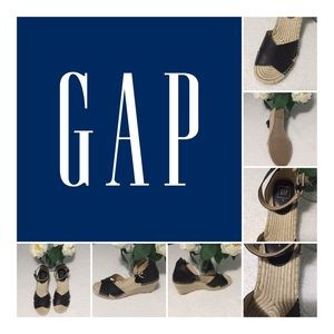 Gap Leather Black Sandal Wedges Size 9
